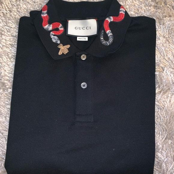 88ebd299 Gucci Shirts | Cotton Polo With Kingsnake Embroidery | Poshmark